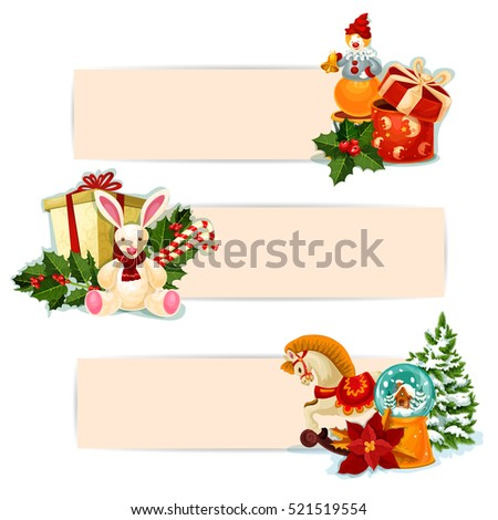 Christmas gift banners. Present boxes with bow, holly berry, candy cane, xmas tree, snow globe, poinsettia, rabbit, horse and clown toy. Festive label with copy space for xmas holidays design