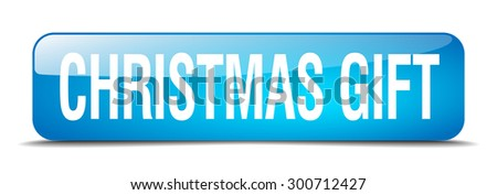 christmas gift blue square 3d realistic isolated web button