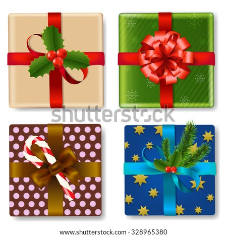 Christmas Gift Box Set With Gradient Mesh, Vector Illustration - stock vector