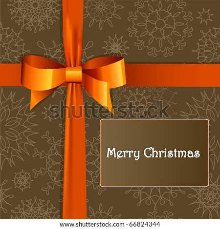 Christmas gift box with  bow - stock vector