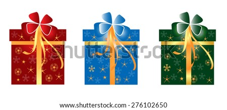 Christmas gift box with snowflake - stock vector