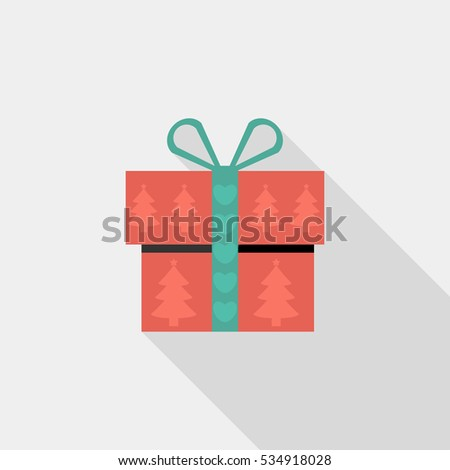 Christmas gift boxes icon . Flat design style modern vector illustration. Isolated on stylish color background. Flat long shadow icon. Elements in flat design.