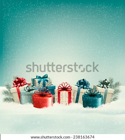 Christmas gift boxes in snow. Vector. - stock vector