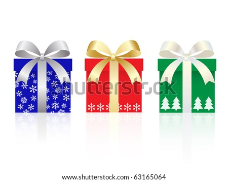 christmas gift boxes set with  pattern - stock vector