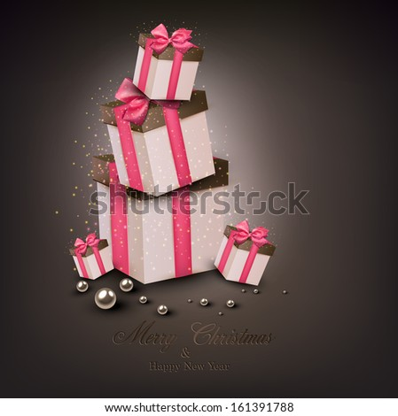 Christmas gift boxes with pink ribbons over dark background. Vector illustration.  - stock vector