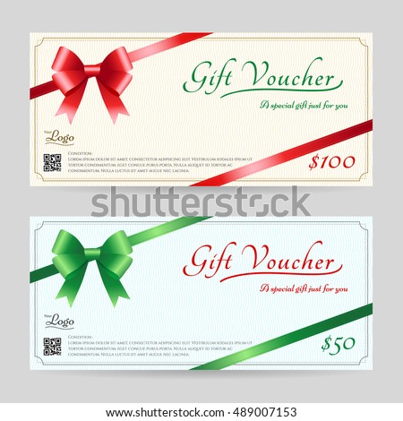 Christmas Gift Card Or Gift Voucher Template With Shiny Red And Green Bows  And Ribbons Vector  Christmas Gift Vouchers Templates