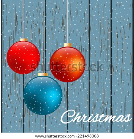 Christmas gift card with colorful decorative balls. Vector illustration. - stock vector