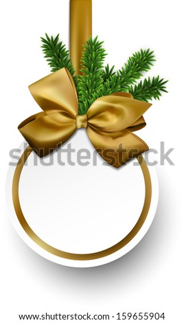 Christmas gift card with golden ribbon and satin bow. Vector illustration.  - stock vector
