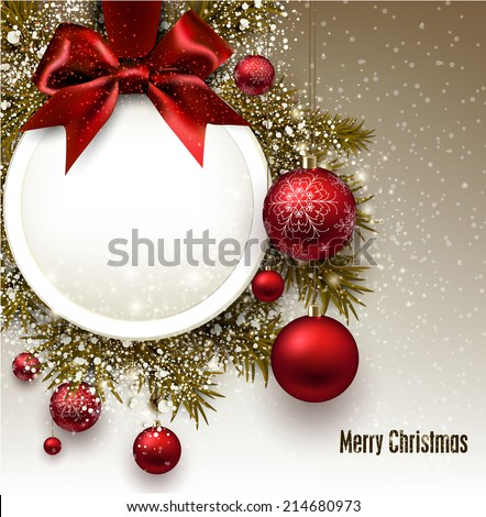 Christmas gift card with red ribbon and red Christmas baubles. Vector illustration.