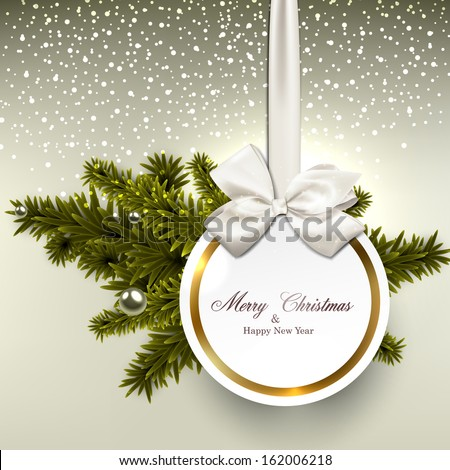 Christmas gift card with ribbon and satin bow. Vector illustration.  - stock vector