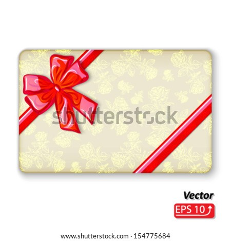 christmas gift envelope and red silk bow isolated on white background vector