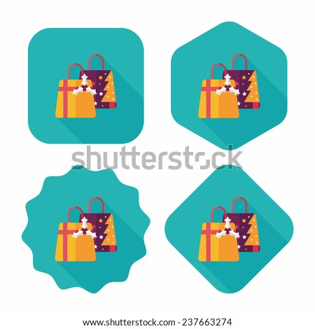 Christmas gift flat icon with long shadow,eps10 - stock vector