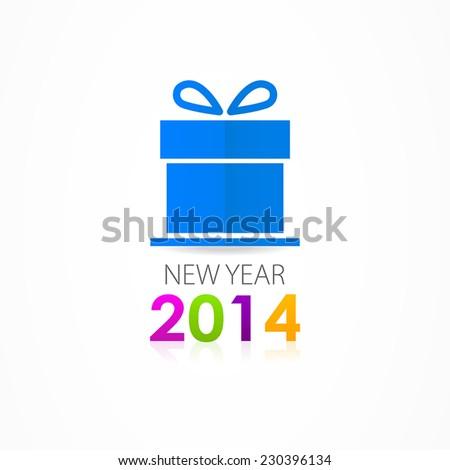 Christmas gift icon 2014 - stock vector