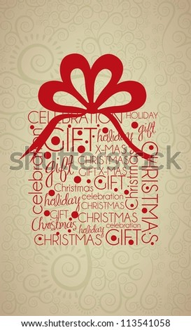 Christmas gift illustration with arabesques and bow, vector illustration - stock vector