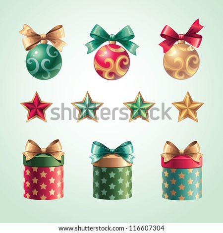 Christmas gift objects set - stock vector