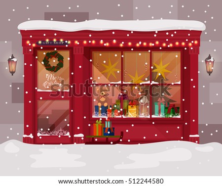 Christmas gift presents shop store advent stock vector 512244580 christmas gift or presents shop or store with advent wreath on door winter xmas negle Images