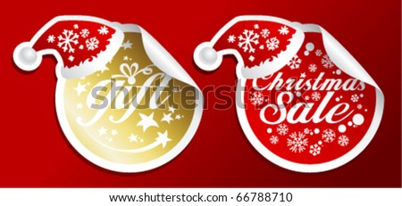Christmas gift sale stickers in a Santas hat.