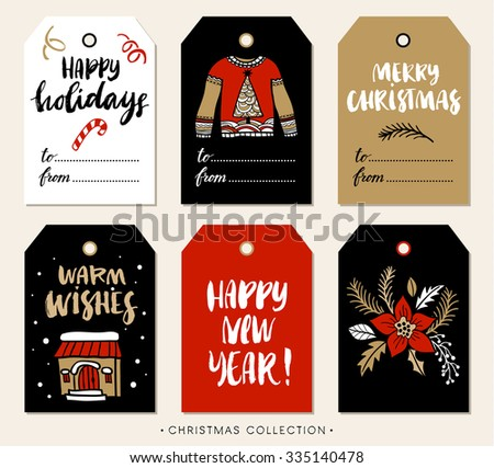Christmas gift tag with calligraphy. Handwritten modern brush lettering: Merry Christmas, Happy Holidays, Warm Wishes, New Year. Hand drawn design elements. - stock vector