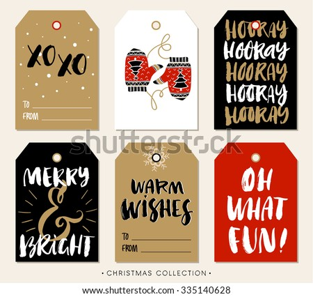 Christmas gift tag with calligraphy. Handwritten modern brush lettering: XO XO, Hooray, Merry and Bright, Warm Wishes, Oh What Fun. Hand drawn design elements. - stock vector