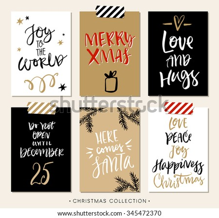 Christmas gift tags and cards with calligraphy. Handwritten modern brush lettering. Hand drawn design elements. - stock vector