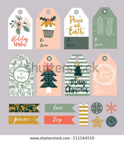 Christmas Gift Tags and Labels Set. Vector illustration