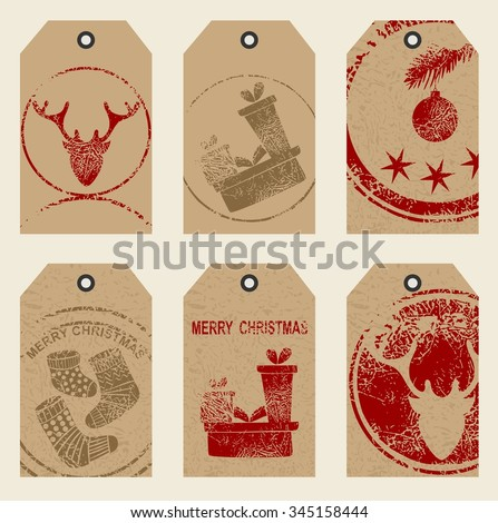 Christmas gift tags set. Art Hand Drawn textures for winter holidays.  - stock vector