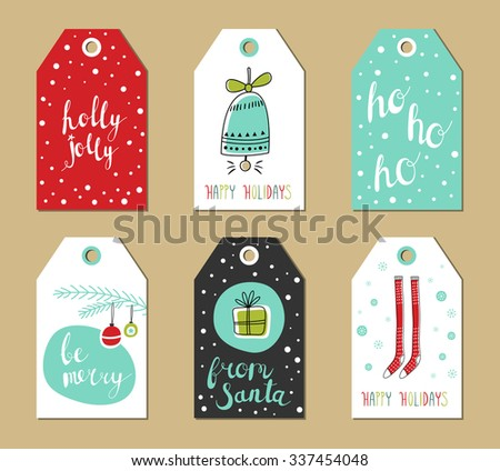 Christmas gift tags set. Vector illustration. Creative Hand Drawn textures for winter holidays. Bright colors. For greetings, congratulations, invitations.  - stock vector