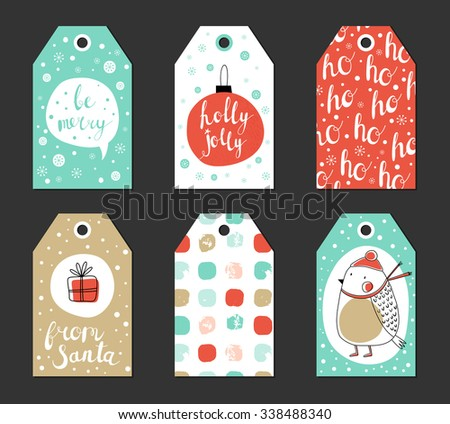 Christmas gift tags set. Vector illustration. Creative Hand Drawn textures for winter holidays. Pink and turquoise. For greetings, congratulations, invitations. - stock vector