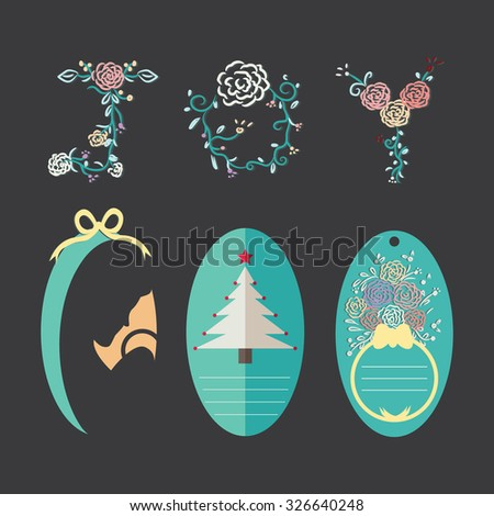 Christmas gift tags with Joy flowers alphabet hand drawing. Illustration elements for christmas holiday.