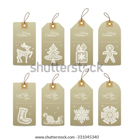 Christmas gift tags with  lace hand drawn decorative elements - stock vector