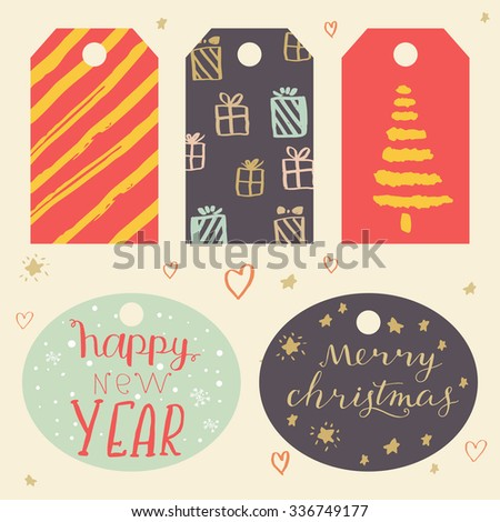 Christmas gift tags with lettering and ink illustration
