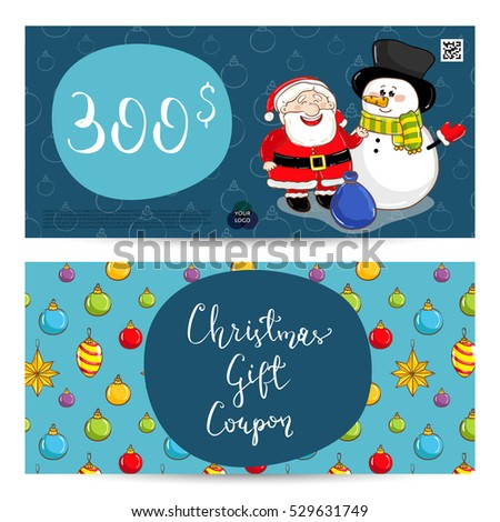 Christmas Gift Voucher Template Gift Coupon Stock Vector