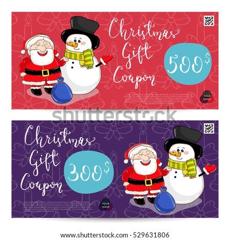 Christmas Gift Voucher Template. Gift Coupon With Xmas Attributes And  Prepaid Sum. Cute Snowman
