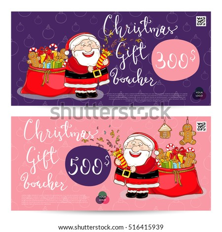 Christmas Gift Voucher Template Gift Coupon Stock Vector 516415939