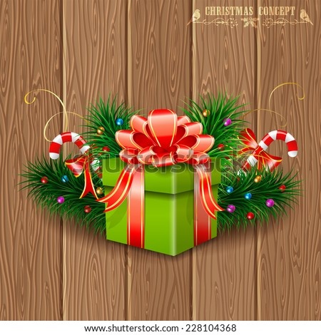 Christmas Gift with Fir Branches, Candy and Streamer on Wooden Boards background, vector illustration. - stock vector