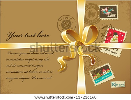 Christmas gift with vintage postage stamps - stock vector
