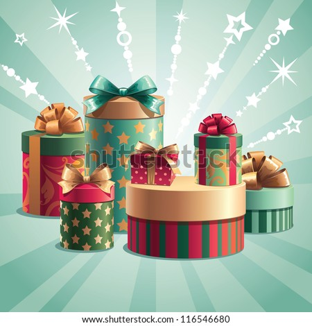 Christmas gifts boxes stack - stock vector