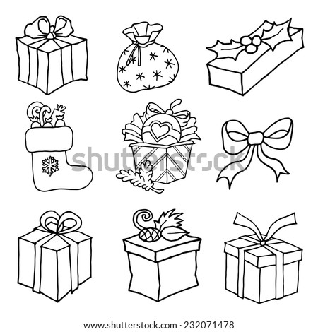 Christmas gifts boxes with ribbons tied funny - doodles hand drawn vector black and white line - for decoration printing design or congratulation - stock vector