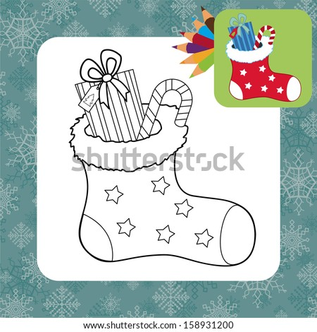 Christmas gifts. Coloring page. Vector illustration - stock vector