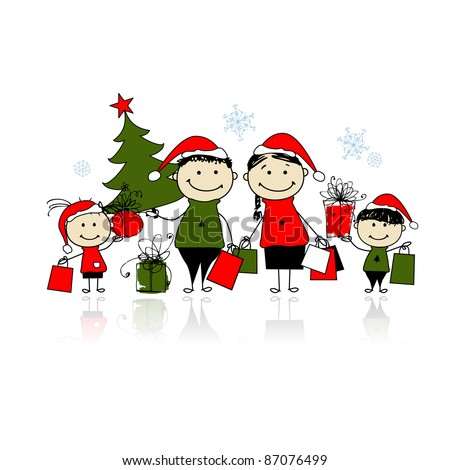 Christmas gifts. Family with shopping bags - stock vector