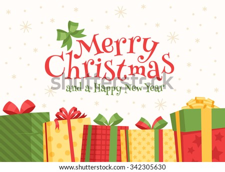 Christmas gifts in boxes. - stock vector