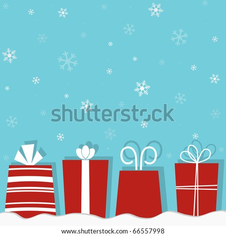 Christmas gifts on a snow background - stock vector