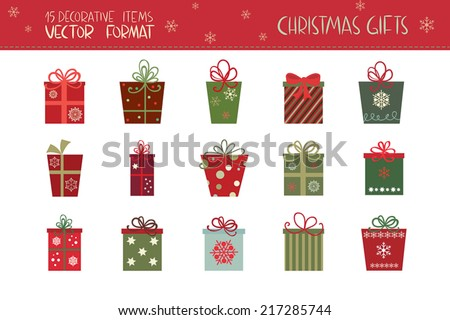 Christmas gifts set. A collection of fifteen Christmas gifts. - stock vector