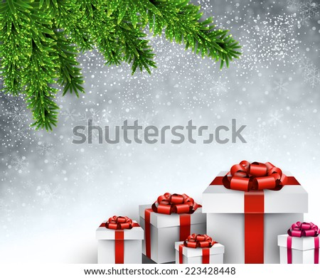 Christmas gifts under spruce twigs. Vector illustration.  - stock vector