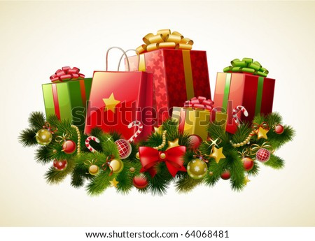 Christmas gifts  vector image - stock vector