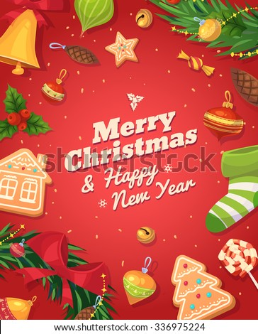 Christmas gingerbread cookies and sweets. Christmas greeting card background poster. Vector illustration. Merry christmas and Happy new year. - stock vector