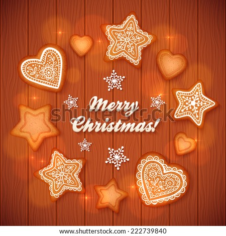 Christmas gingerbread stars and hearts vector greeting card on wooden background