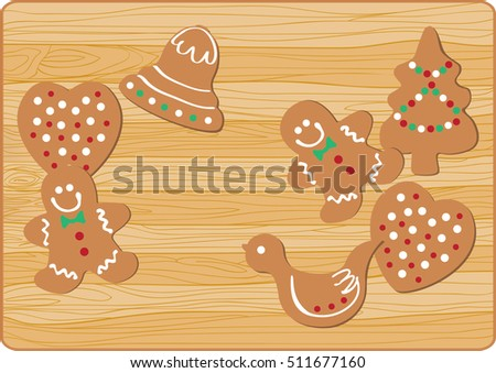 Christmas gingersnap on wooden background