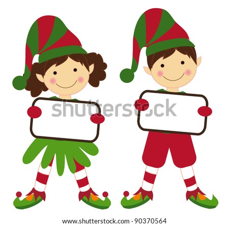 Christmas girl and boy in vector holding a board to write.