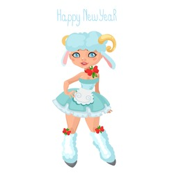 christmas girl dressed as a symbol of the new year a sheep a goat